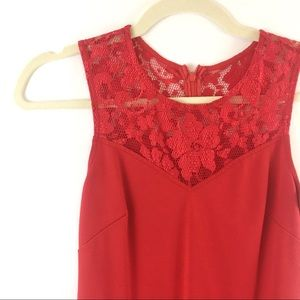 Red Bodycon Cocktail Party Dress with Lace Top